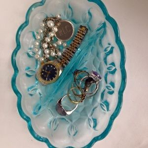 Other - Vintage Blue Glass Display Dish: Anchor Hocking